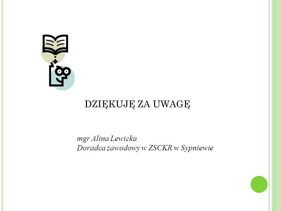 DZIĘKUJĘ ZA UWAGĘ mgr Alina Lewicka