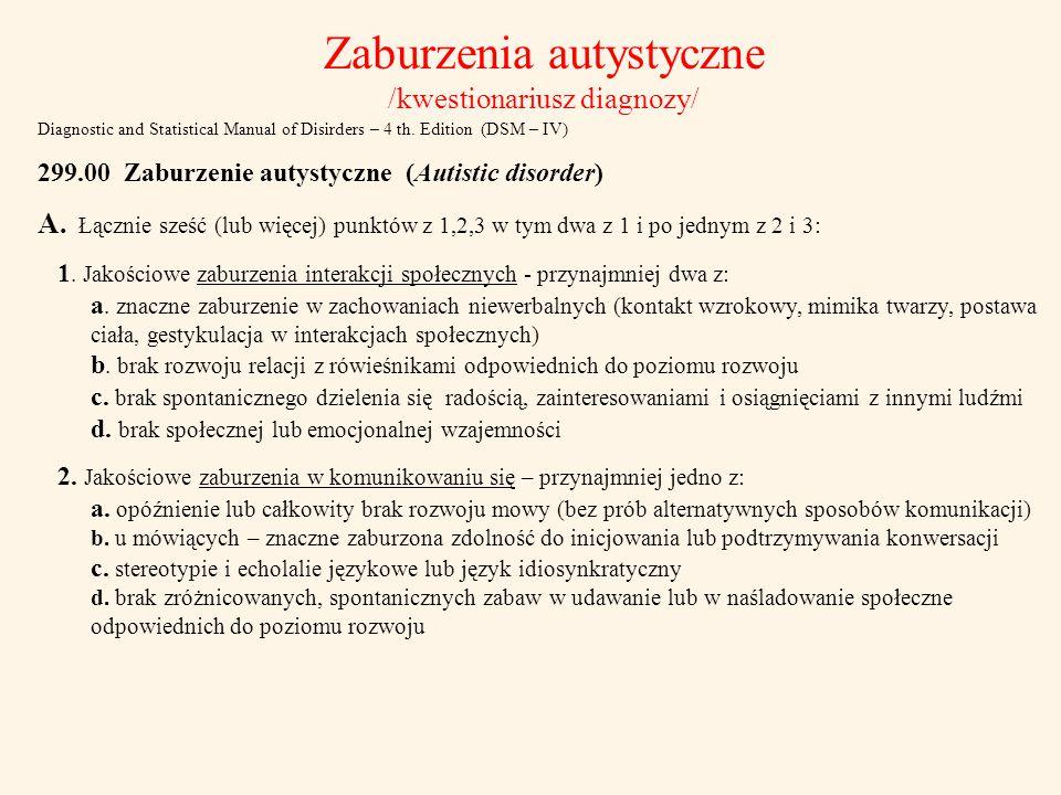 Zaburzenia autystyczne /kwestionariusz diagnozy/
