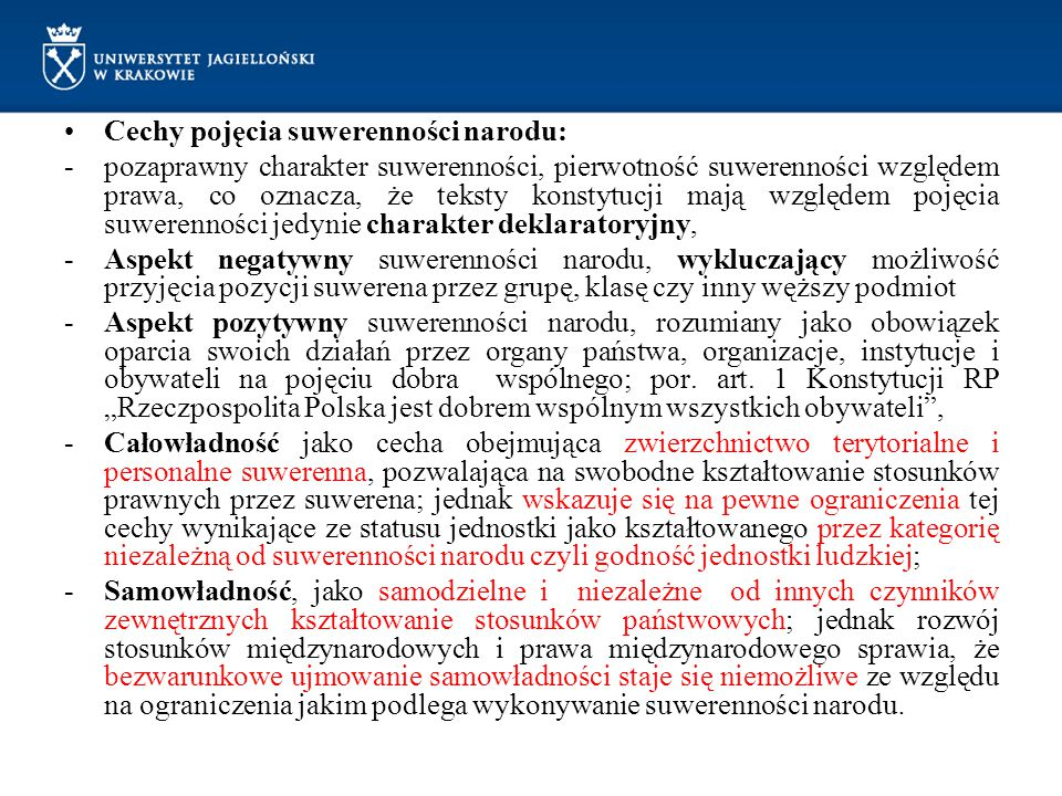 Cechy pojęcia suwerenności narodu: