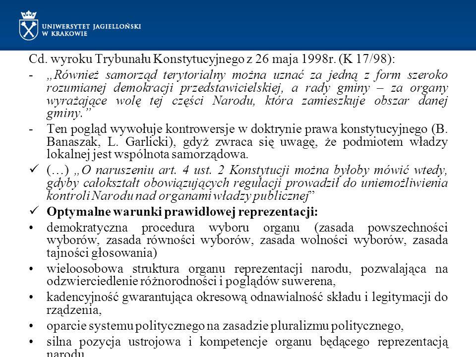Cd. wyroku Trybunału Konstytucyjnego z 26 maja 1998r. (K 17/98):