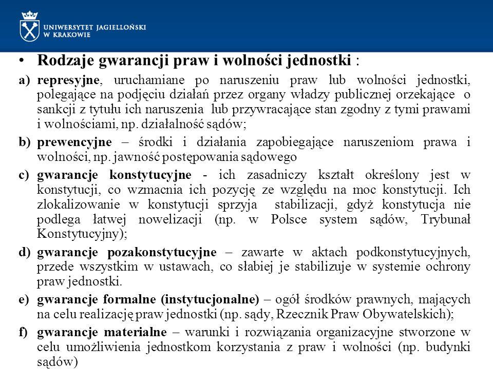 Rodzaje gwarancji praw i wolności jednostki :