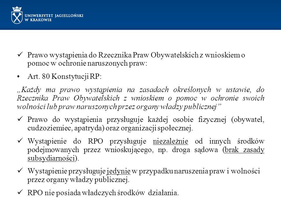 Prawo wystąpienia do Rzecznika Praw Obywatelskich z wnioskiem o pomoc w ochronie naruszonych praw: