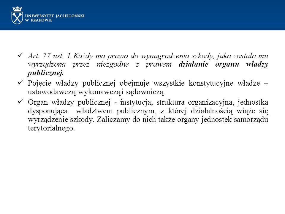 Art. 77 ust. 1 Każdy ma prawo do wynagrodzenia szkody, jaka została mu wyrządzona przez niezgodne z prawem działanie organu władzy publicznej.