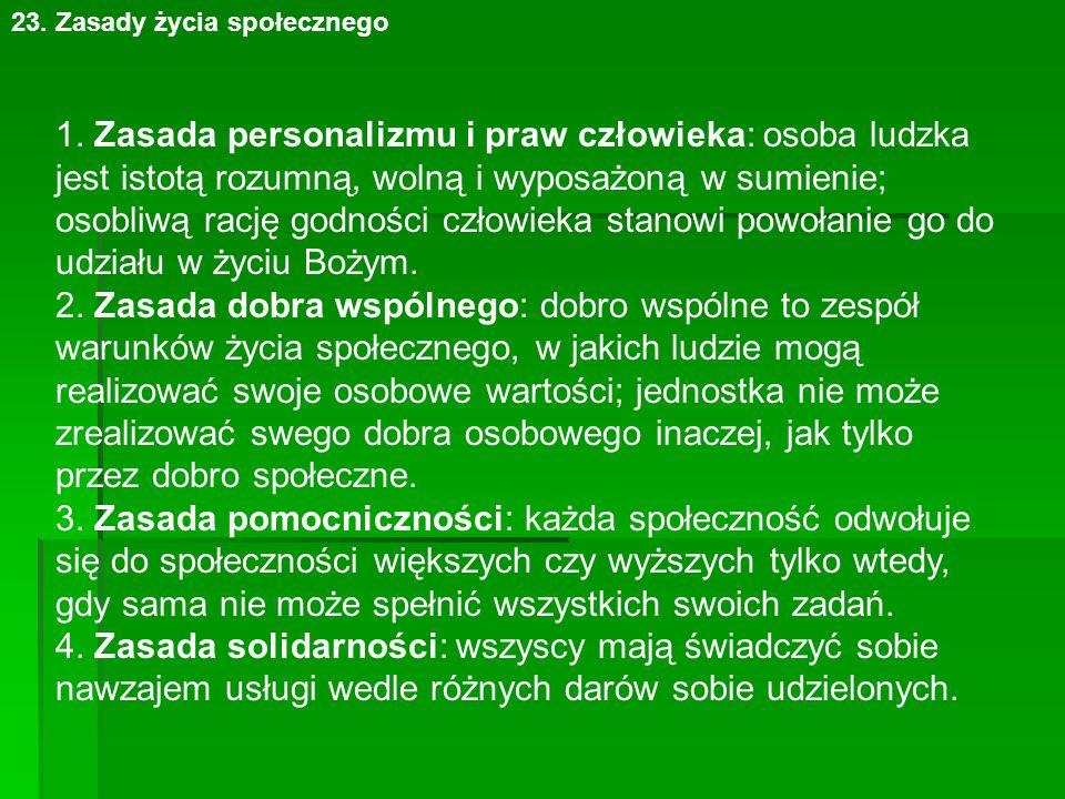 23. Zasady życia społecznego