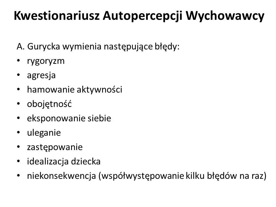 Kwestionariusz Autopercepcji Wychowawcy A. Guryckiej