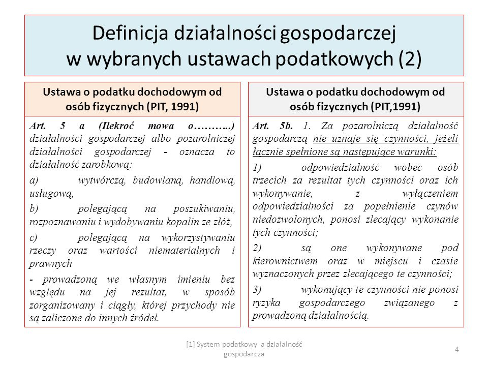 Definicja działalności gospodarczej w wybranych ustawach podatkowych (2)