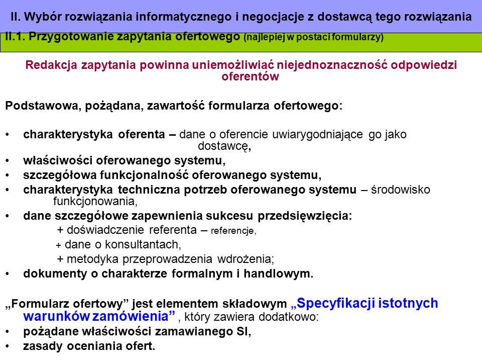 Podstawowa, pożądana, zawartość formularza ofertowego: