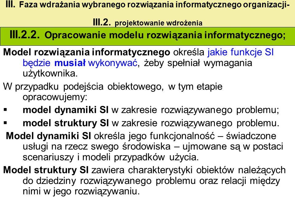 III.2.2. Opracowanie modelu rozwiązania informatycznego;