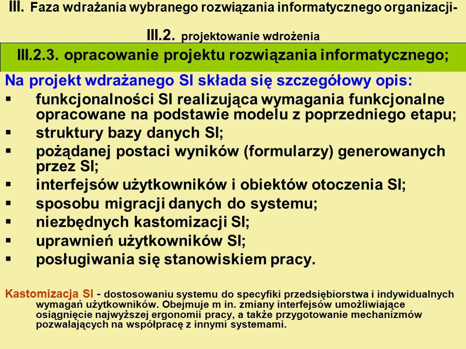 III.2.3. opracowanie projektu rozwiązania informatycznego;