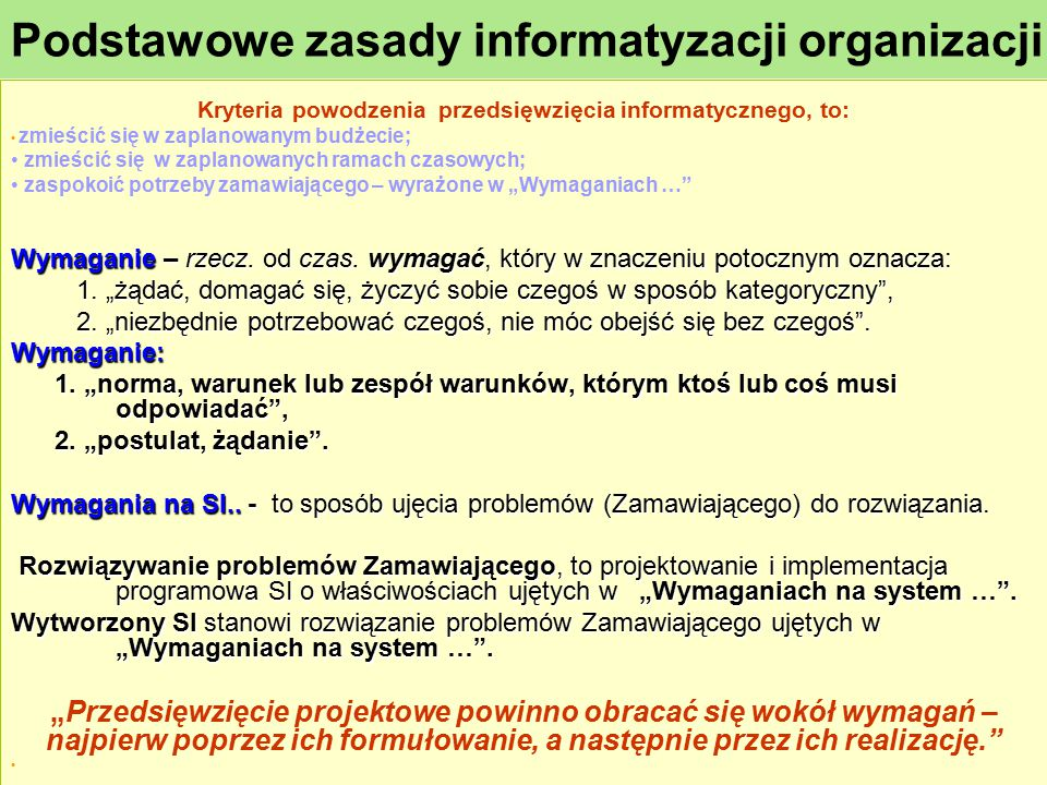 Podstawowe zasady informatyzacji organizacji