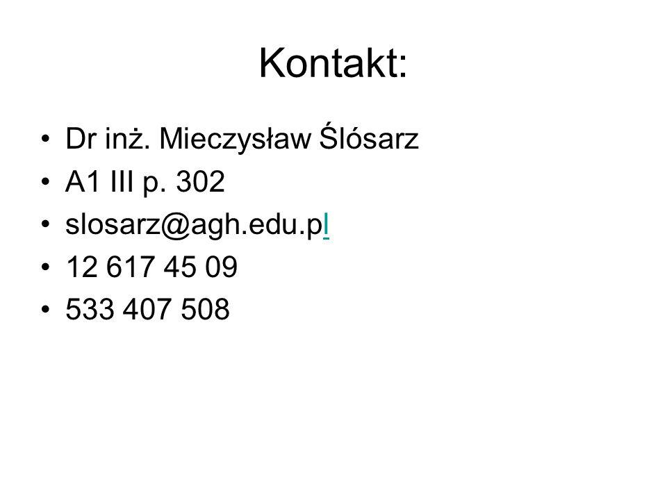 Kontakt: Dr inż. Mieczysław Ślósarz A1 III p. 302 slosarz@agh.edu.pl