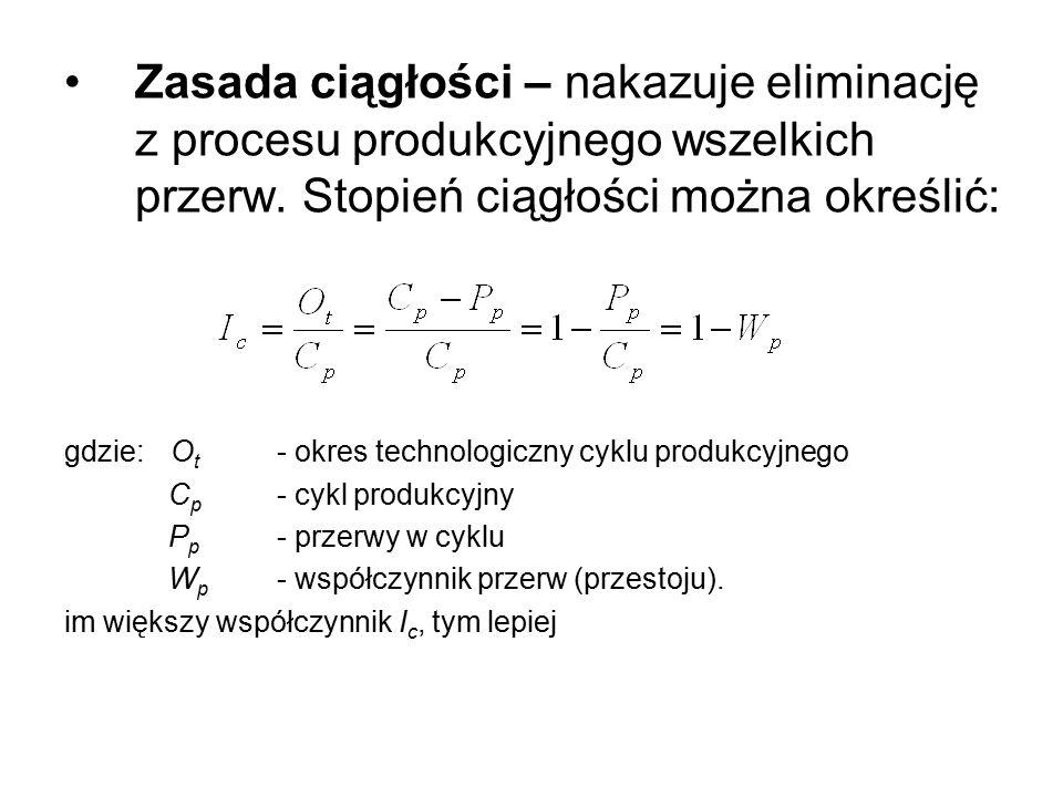 Zasada ciągłości – nakazuje eliminację z procesu produkcyjnego wszelkich przerw. Stopień ciągłości można określić:
