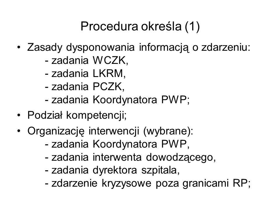 Procedura określa (1) Zasady dysponowania informacją o zdarzeniu: - zadania WCZK, - zadania LKRM, - zadania PCZK, - zadania Koordynatora PWP;