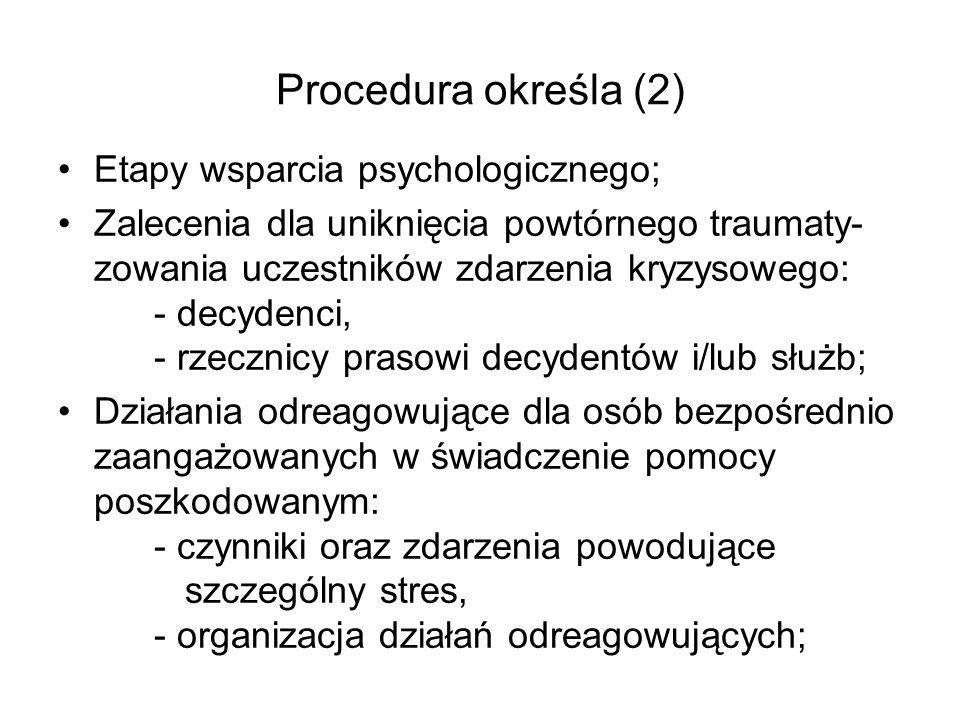 Procedura określa (2) Etapy wsparcia psychologicznego;