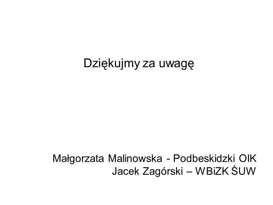 Dziękujmy za uwagę Małgorzata Malinowska - Podbeskidzki OIK Jacek Zagórski – WBiZK ŚUW