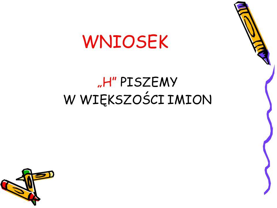"""WNIOSEK """"H PISZEMY W WIĘKSZOŚCI IMION"""