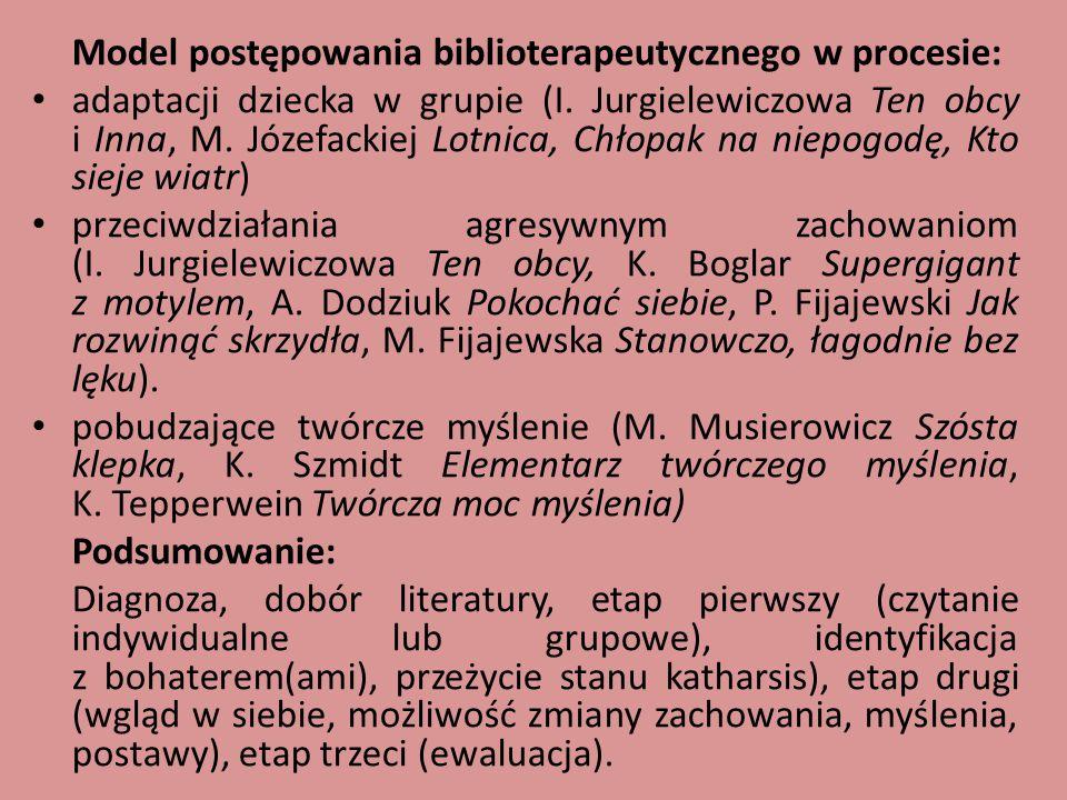 Model postępowania biblioterapeutycznego w procesie: