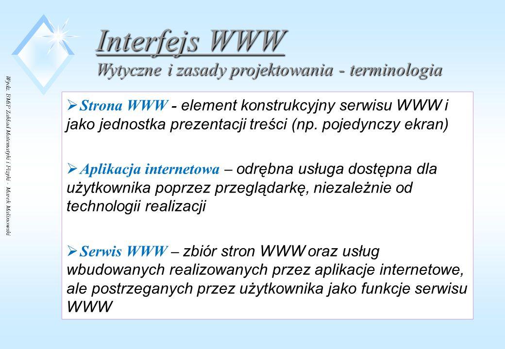 Interfejs WWW Wytyczne i zasady projektowania - terminologia