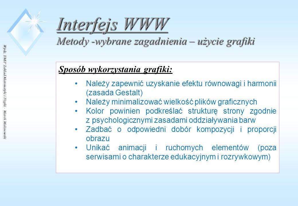 Interfejs WWW Metody -wybrane zagadnienia – użycie grafiki
