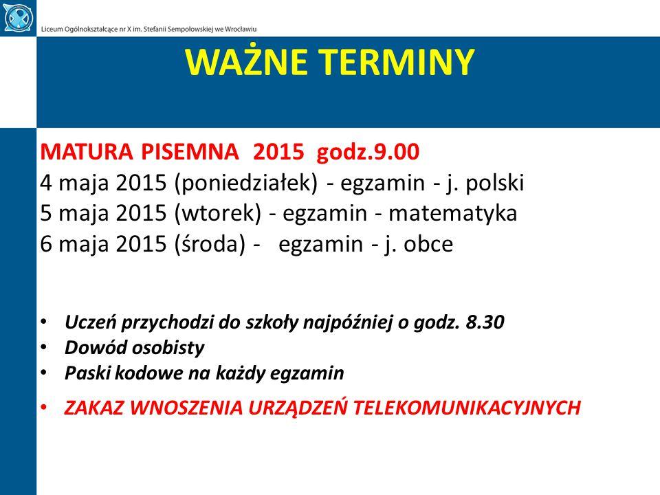 WAŻNE TERMINY MATURA PISEMNA 2015 godz.9.00