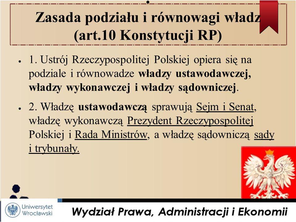 Zasada podziału i równowagi władz (art.10 Konstytucji RP)