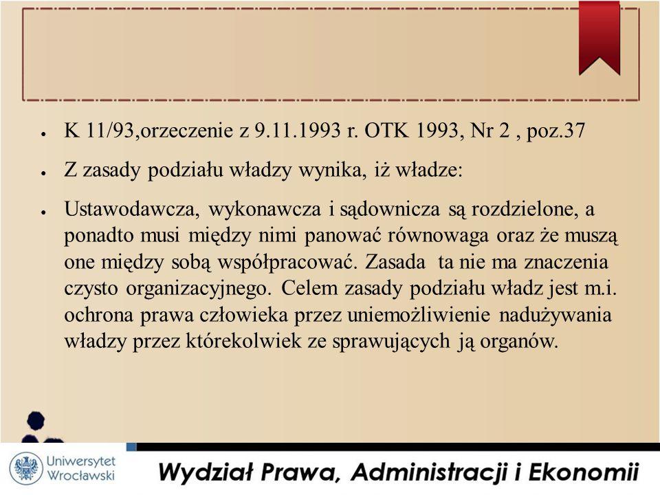 K 11/93,orzeczenie z 9.11.1993 r. OTK 1993, Nr 2 , poz.37