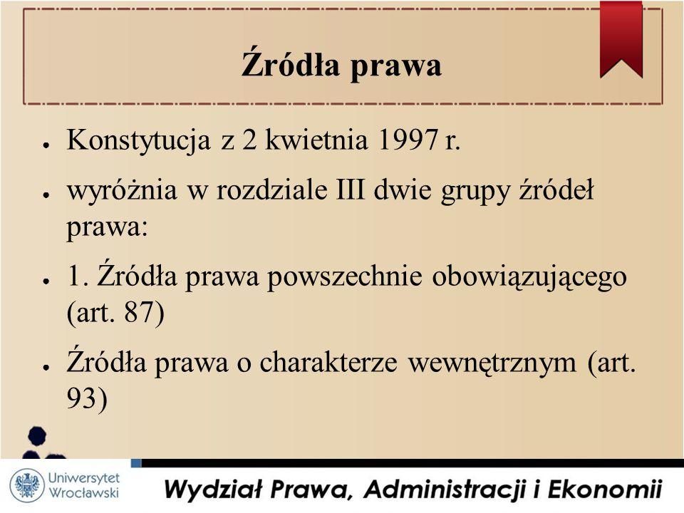 Źródła prawa Konstytucja z 2 kwietnia 1997 r.
