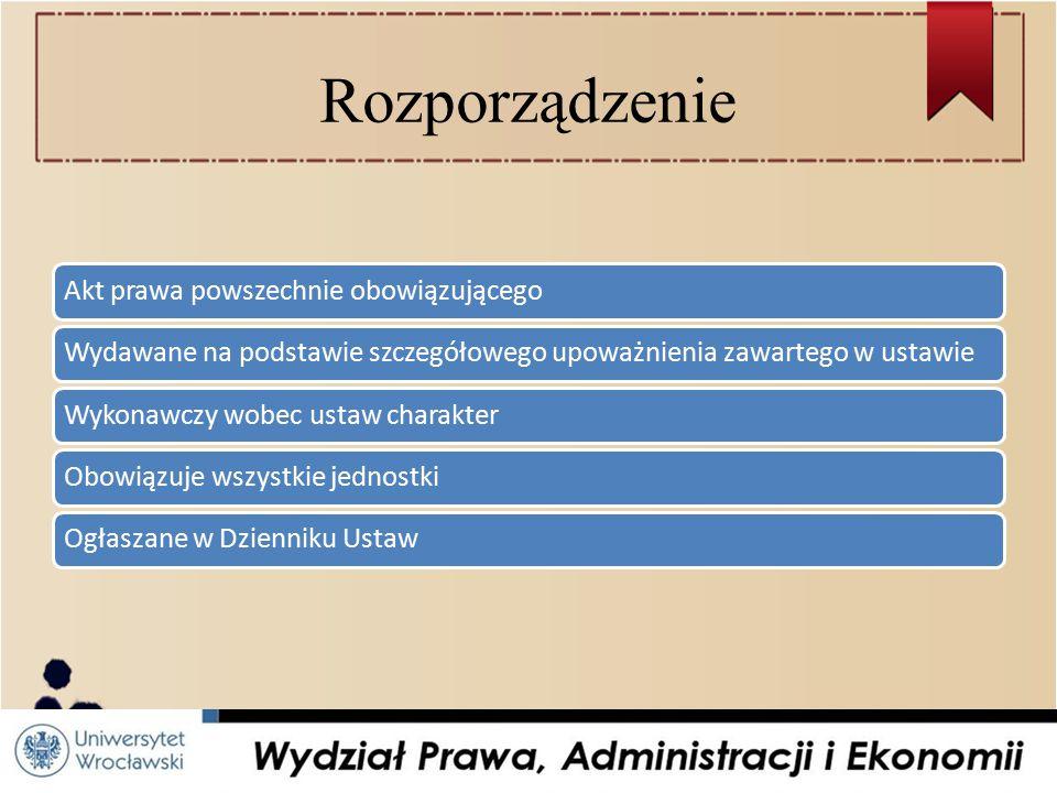 Rozporządzenie Akt prawa powszechnie obowiązującego