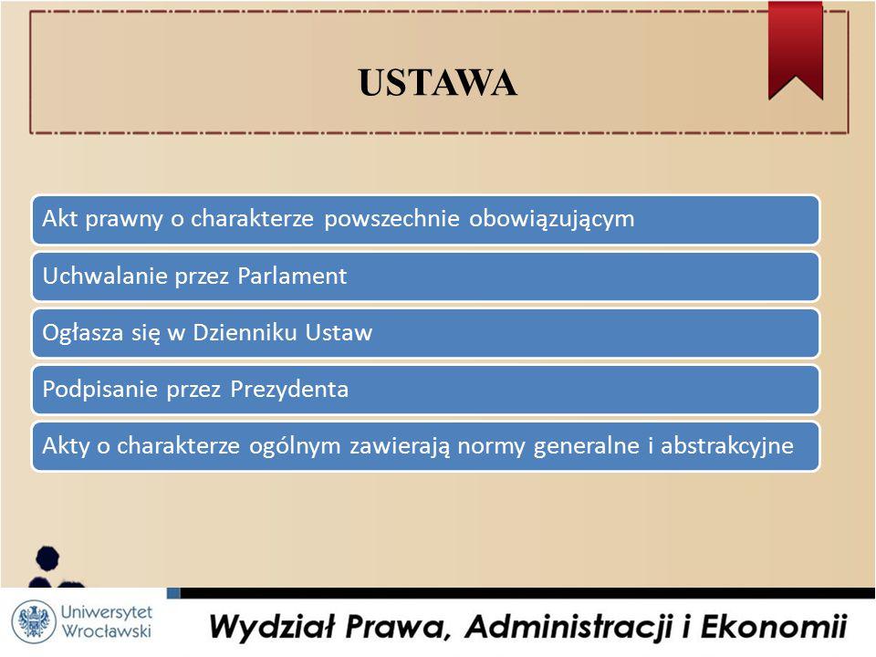 USTAWA Akt prawny o charakterze powszechnie obowiązującym