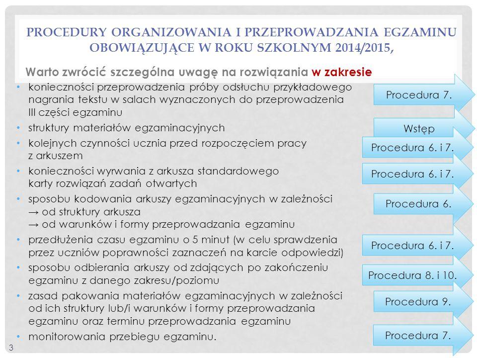 Procedury Organizowania i przeprowadzania egzaminu obowiązujące w roku szkolnym 2014/2015,