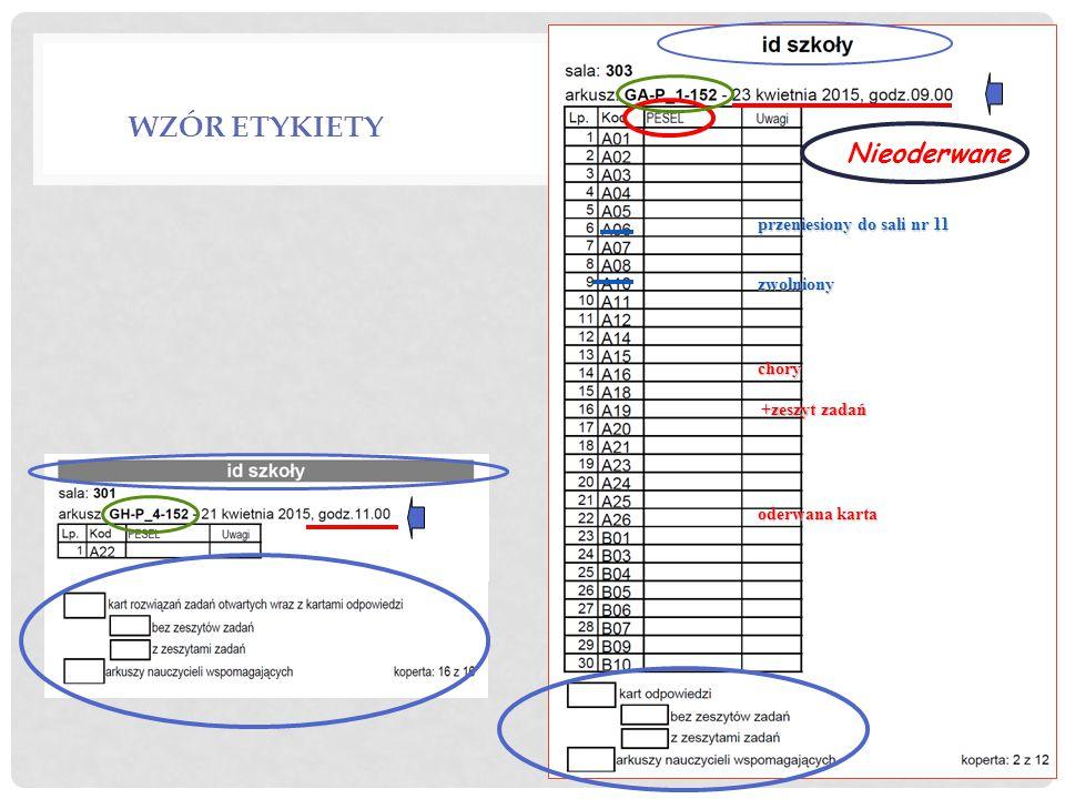 Wzór etykiety Nieoderwane przeniesiony do sali nr 11 zwolniony chory