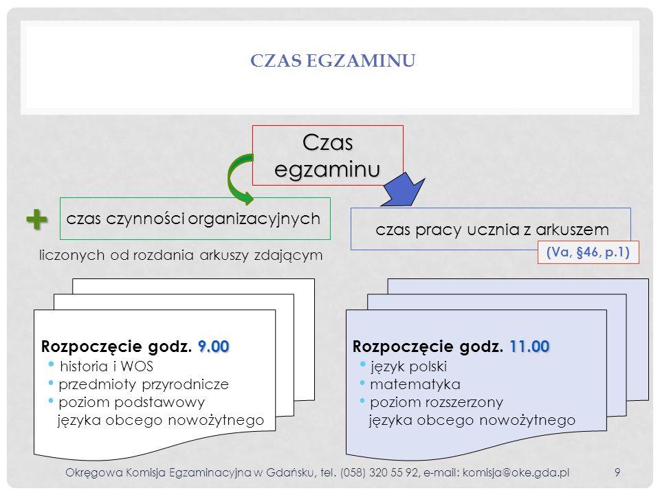 + Czas egzaminu Czas egzaminu czas czynności organizacyjnych