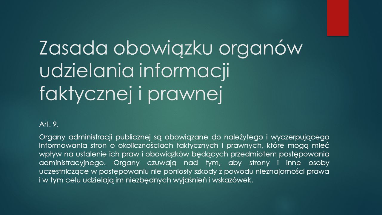 Zasada obowiązku organów udzielania informacji faktycznej i prawnej
