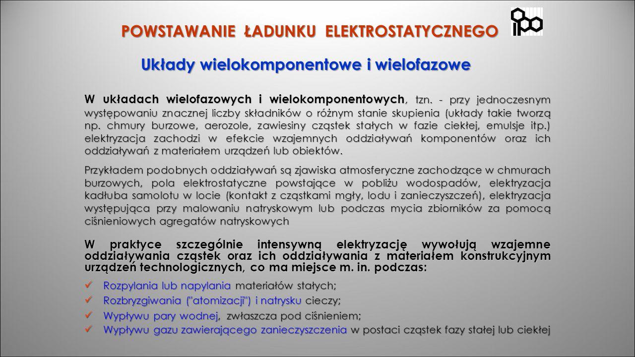 POWSTAWANIE ŁADUNKU ELEKTROSTATYCZNEGO Układy wielokomponentowe i wielofazowe