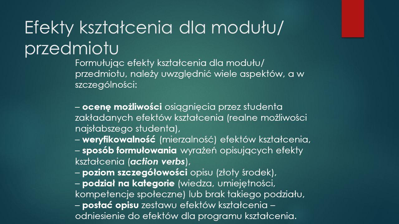 Efekty kształcenia dla modułu/ przedmiotu