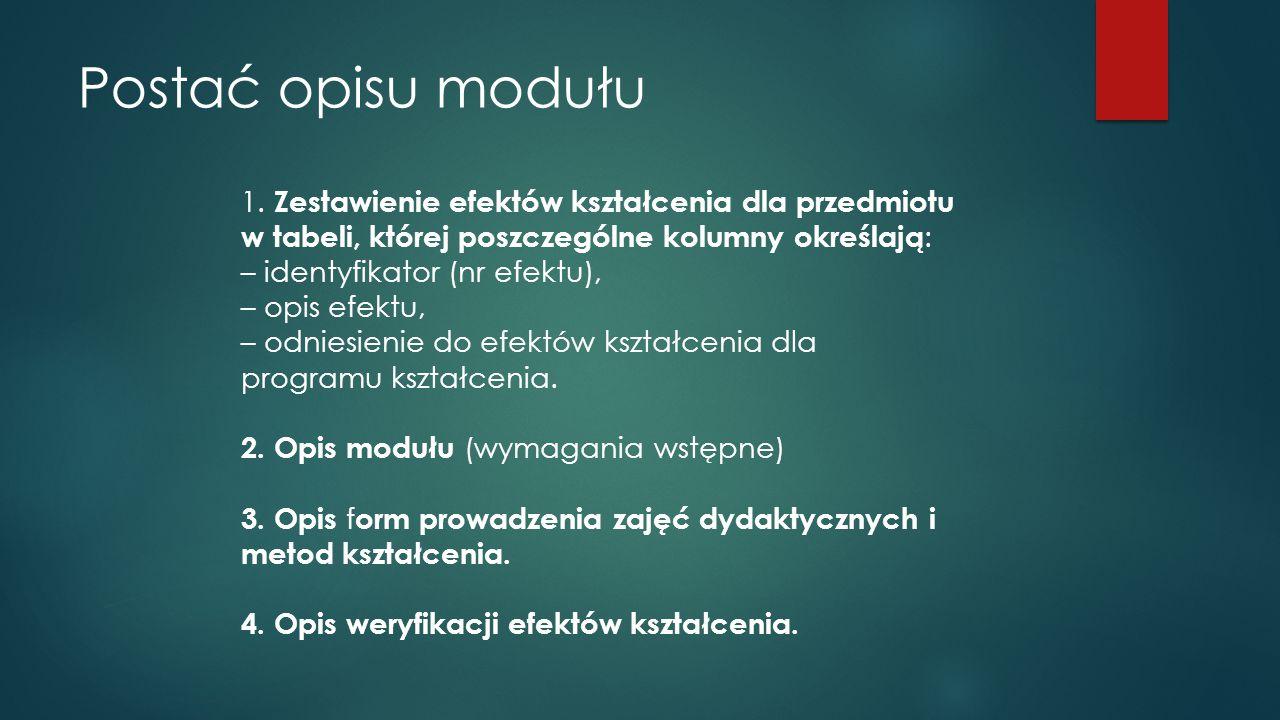 Postać opisu modułu 1. Zestawienie efektów kształcenia dla przedmiotu w tabeli, której poszczególne kolumny określają: