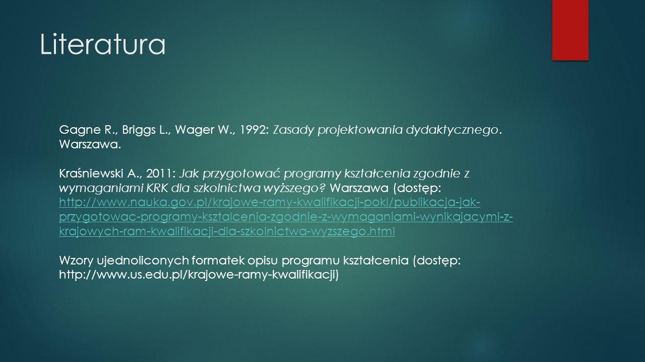 Literatura Gagne R., Briggs L., Wager W., 1992: Zasady projektowania dydaktycznego. Warszawa.