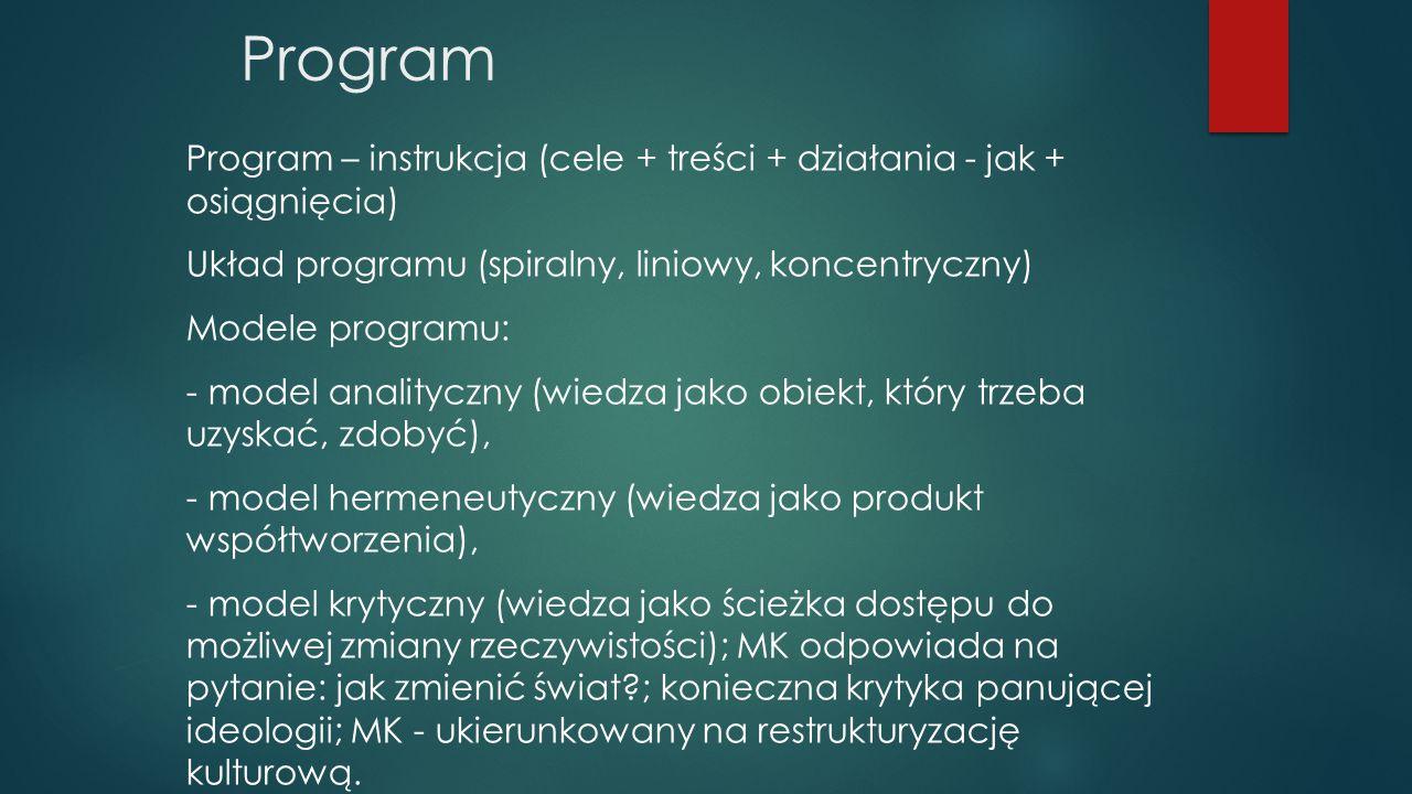 Program Program – instrukcja (cele + treści + działania - jak + osiągnięcia) Układ programu (spiralny, liniowy, koncentryczny)