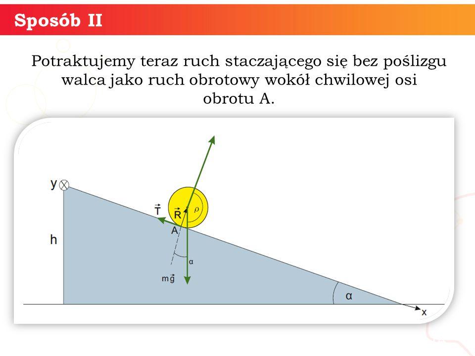 Sposób II Potraktujemy teraz ruch staczającego się bez poślizgu walca jako ruch obrotowy wokół chwilowej osi obrotu A.