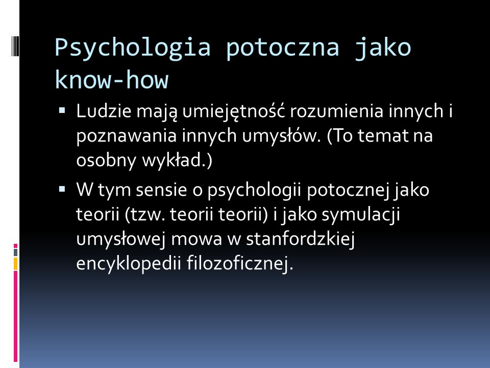 Psychologia potoczna jako know-how