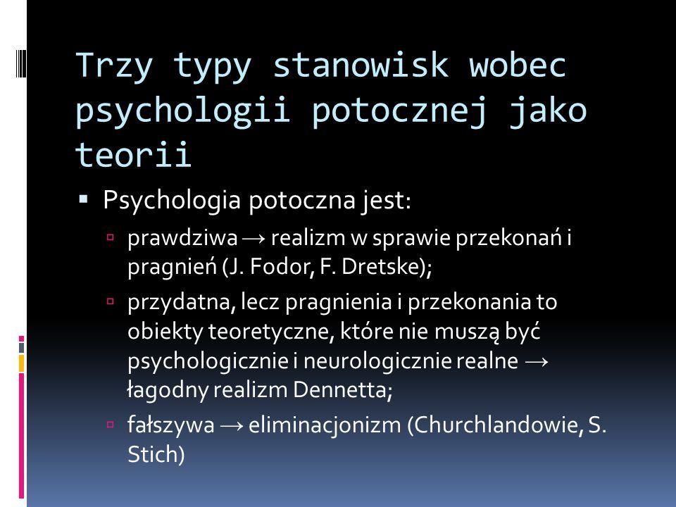 Trzy typy stanowisk wobec psychologii potocznej jako teorii