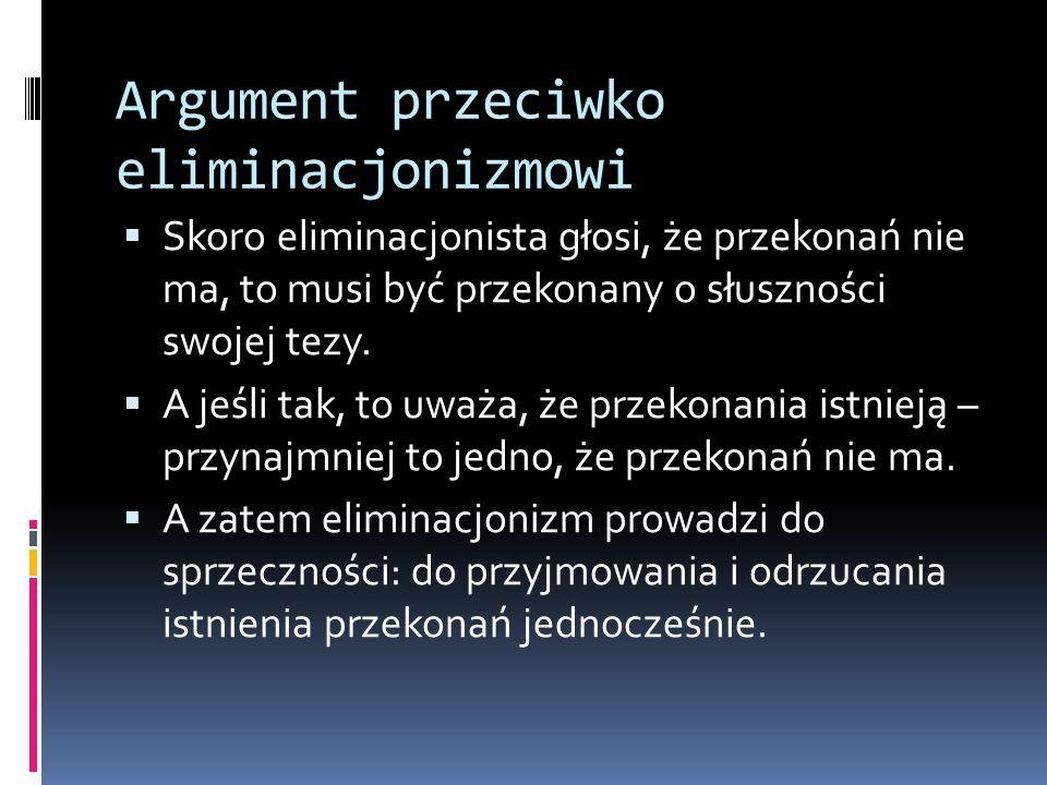 Argument przeciwko eliminacjonizmowi