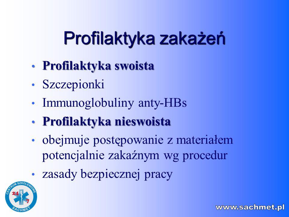 Profilaktyka zakażeń Profilaktyka swoista Szczepionki
