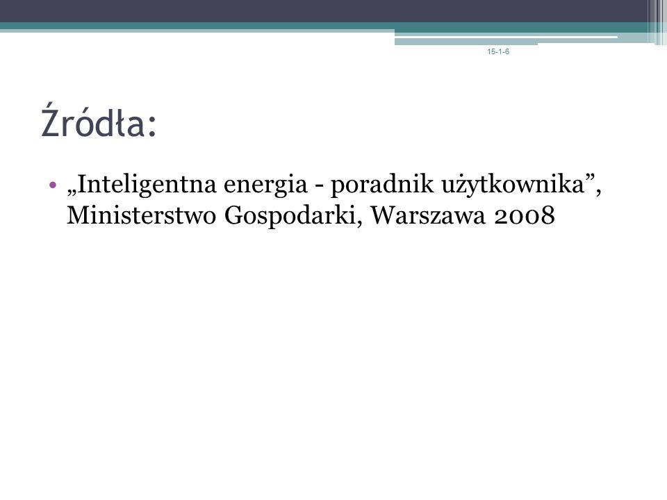 """15-1-6 Źródła: """"Inteligentna energia - poradnik użytkownika , Ministerstwo Gospodarki, Warszawa 2008."""