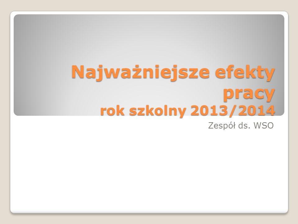 Najważniejsze efekty pracy rok szkolny 2013/2014