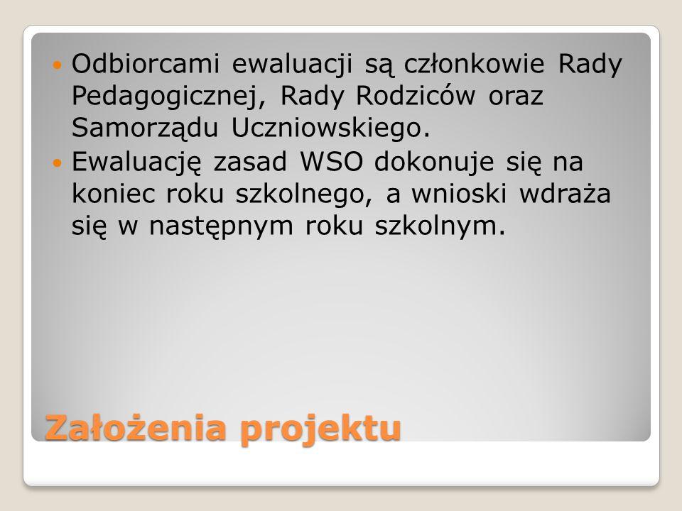 Odbiorcami ewaluacji są członkowie Rady Pedagogicznej, Rady Rodziców oraz Samorządu Uczniowskiego.