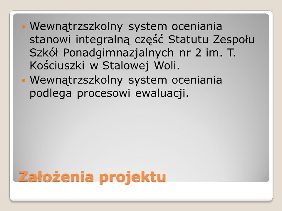 Wewnątrzszkolny system oceniania stanowi integralną część Statutu Zespołu Szkół Ponadgimnazjalnych nr 2 im. T. Kościuszki w Stalowej Woli.