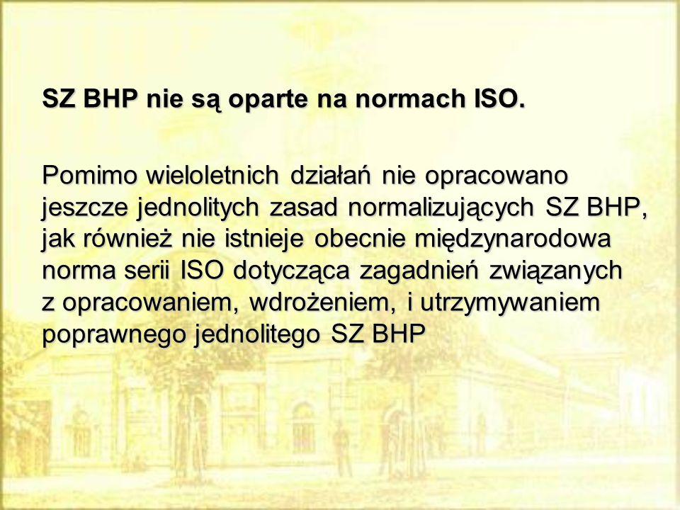 SZ BHP nie są oparte na normach ISO.