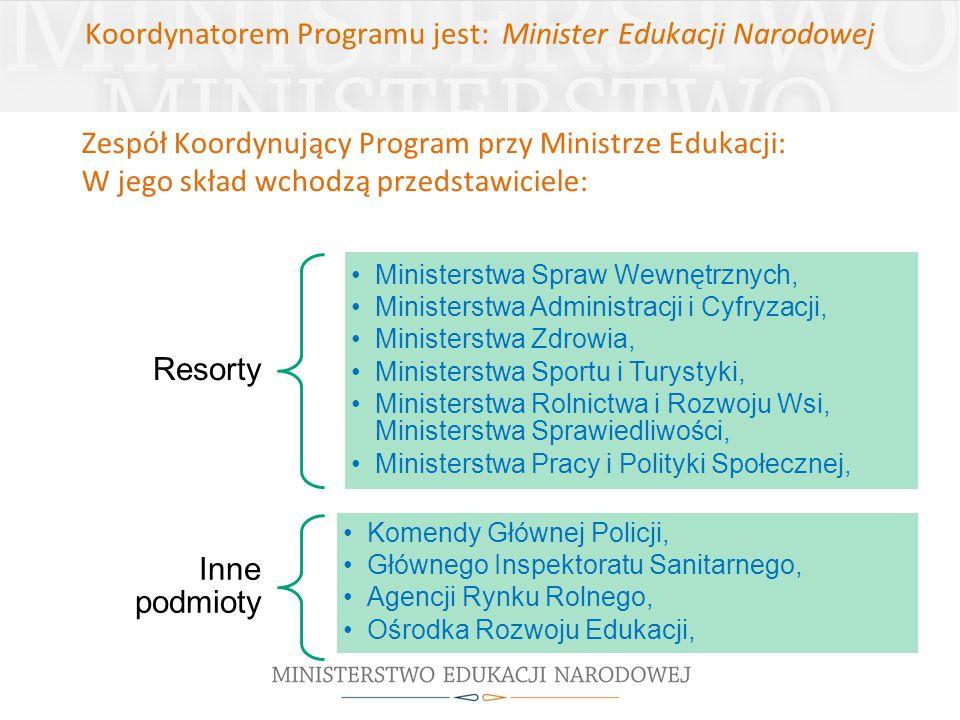 Koordynatorem Programu jest: Minister Edukacji Narodowej