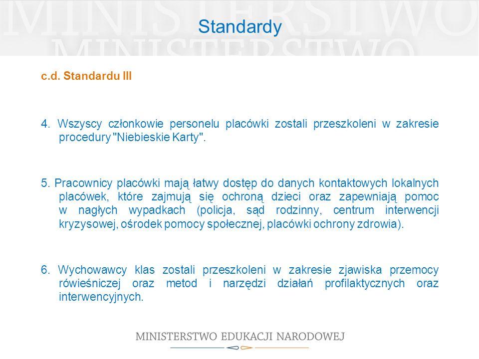 Standardy c.d. Standardu III. 4. Wszyscy członkowie personelu placówki zostali przeszkoleni w zakresie procedury Niebieskie Karty .